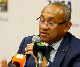 Point de presse du Président de la CAF, Ahmad Ahmad, au Caire, durant la Coupe d'Afrique des Nations ou CAN