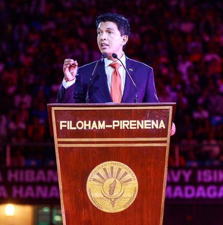 Le Président de la République Andry Rajoelina durant le bilan des 100 jours à Madagascar
