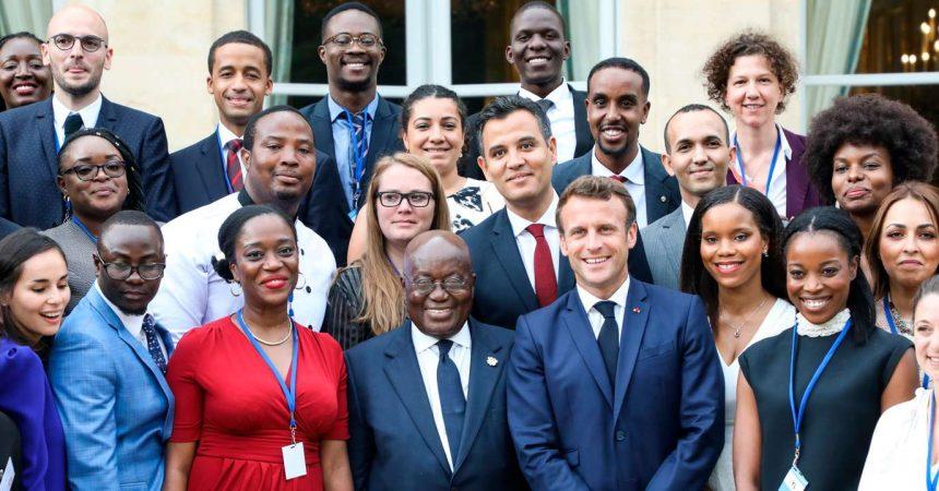 Le Président de la République française, Emmanuel Macron, reçoit la diaspora africaine à l'Elysée