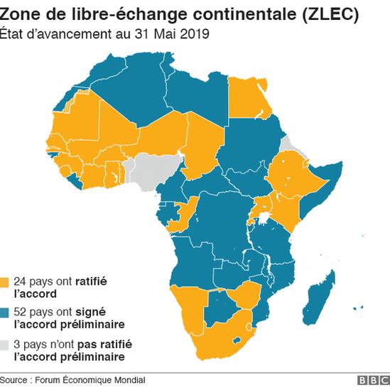 Une carte représentant les pays d'Afrique intégrant la zone de libre-échange continental africaine