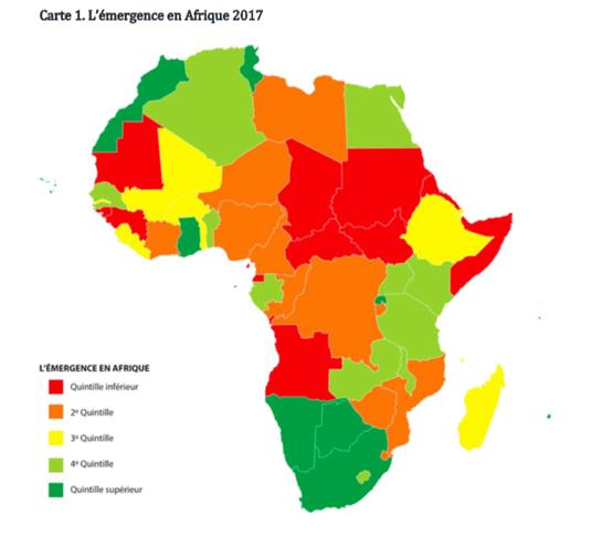 Carte indiquant les pays émergents africains en 2017