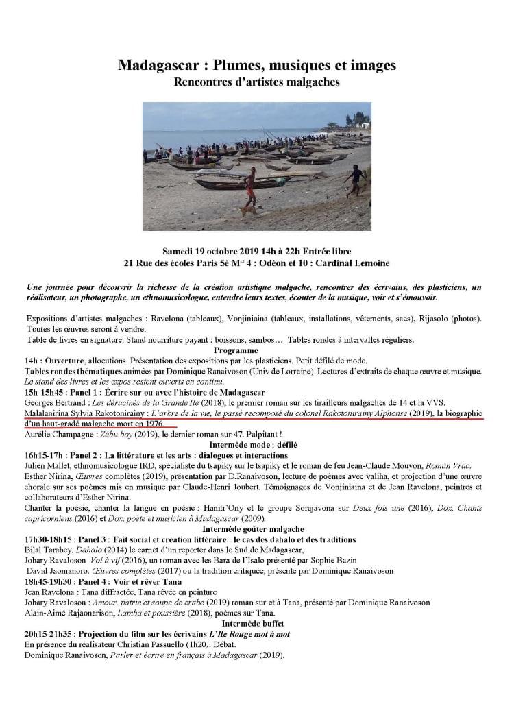 Affiche de l'évènement, Madagascar: Plumes, musiques et images