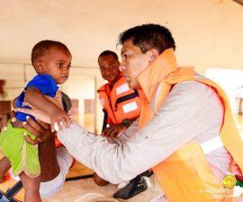 Le Président de la République lors des inondations à Madagascar