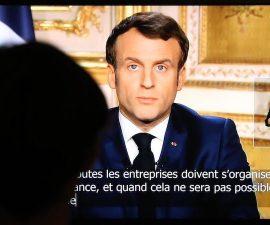 Emmanuel Macron lors de son discours sur le coronavirus